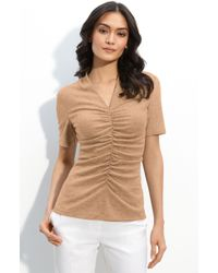 Lafayette 148 New York Ruched V-neck Top - Lyst