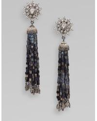 Oscar de la Renta Crystal Accented Tassel Earrings - Lyst
