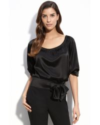 St. John Evening Liquid Satin Blouse - Lyst