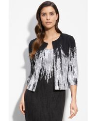 St. John Evening Embellished Dégradé Jacquard Knit Jacket black - Lyst