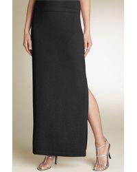 St. John Evening Santana Knit Side Slit Skirt black - Lyst