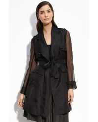 St. John Evening Silk Organza Trench Coat black - Lyst