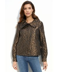 St. John Yellow Label Leopard Jacquard Jacket - Lyst