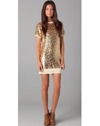 Pencey Sequined Shift Dress gold - Lyst