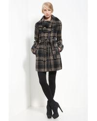 Rachel Zoe Leather Trim Belted Plaid Coat - Lyst