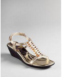 Ak Anne Klein Macademia T-strap Wedge Sandals - Lyst