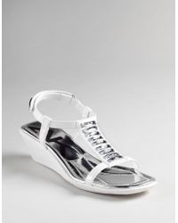 Ak Anne Klein Macademia T-strap Wedge Sandals white - Lyst