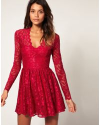 ASOS Collection Asos Lace Skater Dress with Long Fitted Sleeves - Lyst