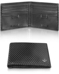 A.Testoni - Black Beehive Stamped Leather Billfold Wallet - Lyst