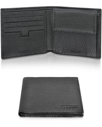 A.Testoni - Black Leather Coin Compartment Billfold Wallet - Lyst