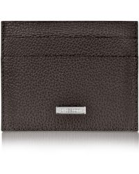A.Testoni - Dark Brown Caribou Leather Slim Card Holder - Lyst