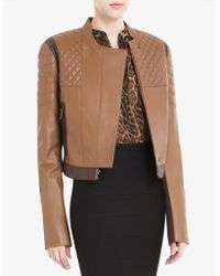 BCBGMAXAZRIA Josh Cropped Leather Motorcycle Jacket - Lyst