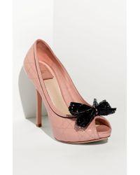 Dior Cannage Stitch Peep Toe Pump pink - Lyst