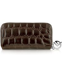 Giorgio Fedon - Spiga - Womens Dark Brown Croc Stamped Calfskin Zip Wallet - Lyst