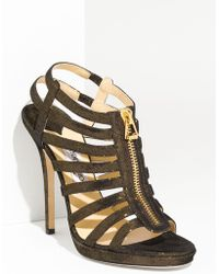 Jimmy Choo Glenys Glitter Suede Caged Sandal - Lyst