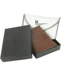 Moreschi - Brown Stamped Leather Business Card Holder - Lyst