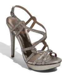 Pelle Moda Farah Evening Sandal Pewter Leather - Lyst