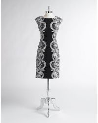 Maggy London - Lace Print Cap-sleeved Dress - Lyst