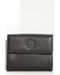 Tory Burch Robinson Double Snap Saffiano French Wallet - Lyst