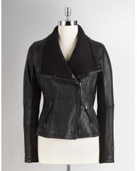 Michael Kors Leather Jacket with Knit Collar - Lyst