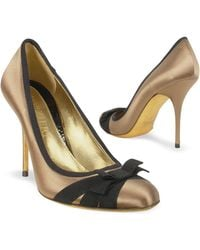 FORZIERI - Black Bow Taupe Satin and Leather Pump Shoes - Lyst