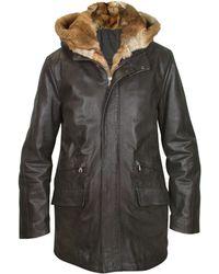 FORZIERI - Detachable Fur-trim Mens Black Leather Car Coat - Lyst