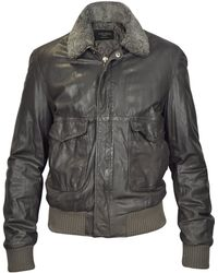 Forzieri Dark Brown Leather Bomber Jacket W/ Removable Sheepskin Collar - Lyst
