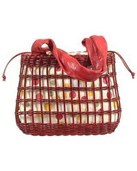 FORZIERI - Capaf Cherry Red Wicker And Leather Tote Bag - Lyst