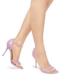 FORZIERI - Lavender Ostrich Leather Ankle-strap Sandal Shoes - Lyst