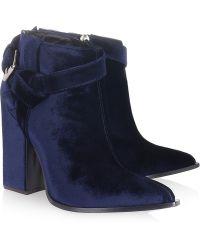 Thakoon Velvet Ankle Boots blue - Lyst