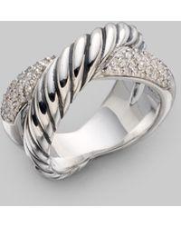 David Yurman Diamond & Sterling Silver Ring - Lyst