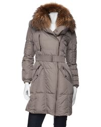 Add - Preorder Belted Puffer Coat with Fur Collar - Lyst