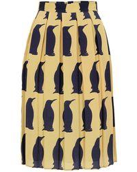 Charlotte Taylor Sk-01 Winter Penguin Print Skirt blue - Lyst