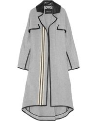 Derek Lam Blanket-stripe Wool-blend and Leather Coat - Lyst