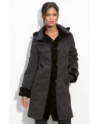 Gallery Faux Fur Trim Coat - Lyst