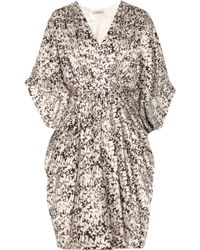 Thurley Cocoon Printed Silk-satin Dress brown - Lyst