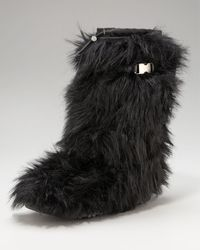 Prada Tall Eco-fur Buckle Boot - Lyst