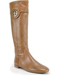 Tory Burch Selma - Sienna Leather Flat Riding Boot - Lyst