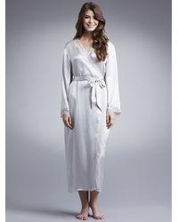 d9162ed5b5 John Lewis - Women Long Silk Dressing Gown Light Grey - Lyst