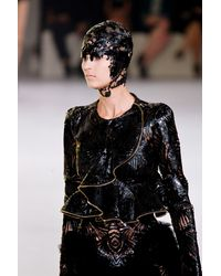 Alexander McQueen Spring 2012 Black Cut Out Shiny Leather Peplum Jacket with Gold Zip Trimmings - Lyst