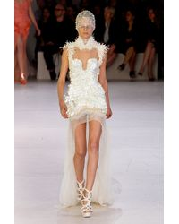 Alexander McQueen Spring 2012 White Asymmetric Cut Out Embellished Dress  - Lyst