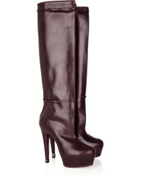 Halston Cutout Leather Knee Boots - Lyst