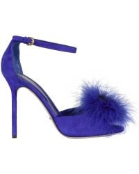 Sergio Rossi 105mm Mink and Suede Ankle Strap Sandals blue - Lyst