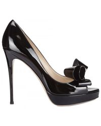 Valentino 120mm Patent Bow Open Toe Pumps - Lyst