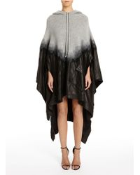 Alexander Wang Hooded Wool & Leather Needle Punch Poncho - Lyst