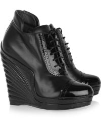 Saint Laurent Leather and Patent-leather Wedge Ankle Boots - Lyst