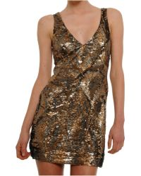 Amen Sequined Tulle Dress gold - Lyst