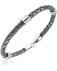 Just Cavalli - Black Braided Leather Bracelet - Lyst