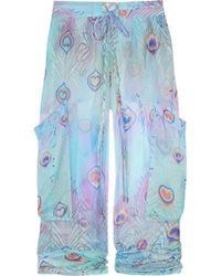 Matthew Williamson - Peacock Feather-print Silk-mousseline Trousers - Lyst
