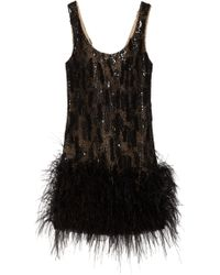Oscar de la Renta Feather-trimmed Silk-mesh Dress - Lyst
